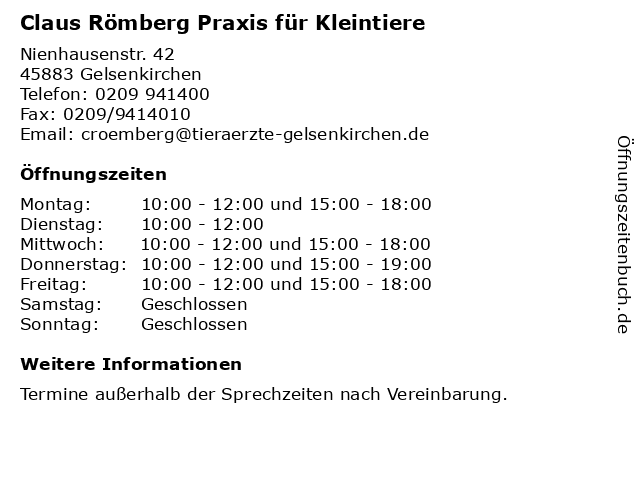 Claus Römberg Praxis für Kleintiere in Gelsenkirchen: Adresse und Öffnungszeiten