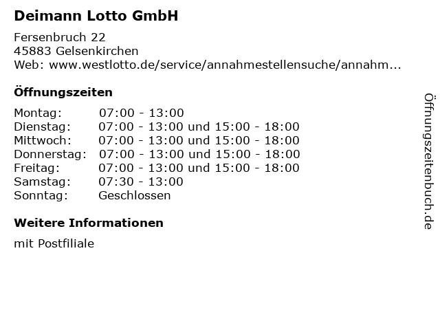 Deimann Lotto GmbH in Gelsenkirchen: Adresse und Öffnungszeiten