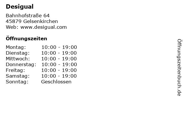 """günstig Online-Verkauf beste Seite ᐅ Öffnungszeiten """"Desigual""""   Bahnhofstraße 64 in Gelsenkirchen"""