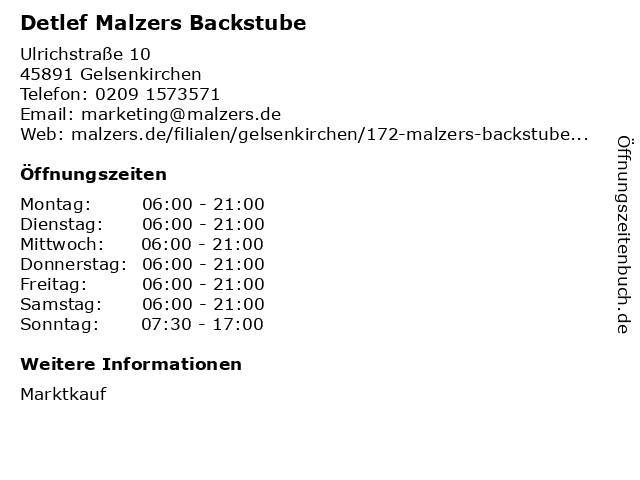 Detlef Malzers Backstube GmbH & Co. KG in Gelsenkirchen: Adresse und Öffnungszeiten