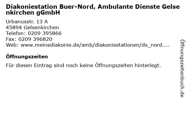 Diakoniestation Buer-Nord, Ambulante Dienste Gelsenkirchen gGmbH in Gelsenkirchen: Adresse und Öffnungszeiten