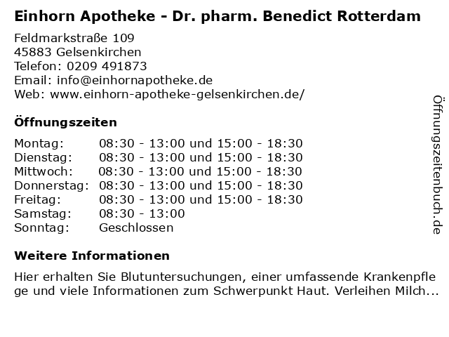 Einhorn-Apotheke in Gelsenkirchen: Adresse und Öffnungszeiten