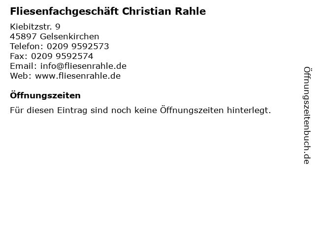 Fliesenfachgeschäft Christian Rahle in Gelsenkirchen: Adresse und Öffnungszeiten