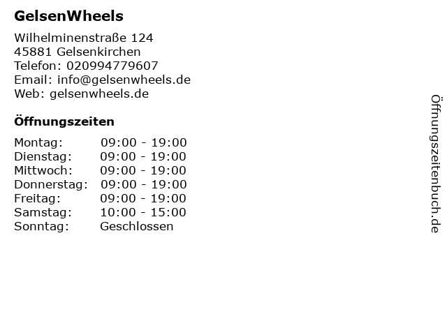 GelsenWheels in Gelsenkirchen: Adresse und Öffnungszeiten