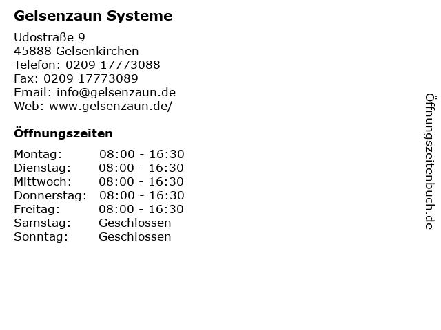 Gelsenzaun Systeme in Gelsenkirchen: Adresse und Öffnungszeiten