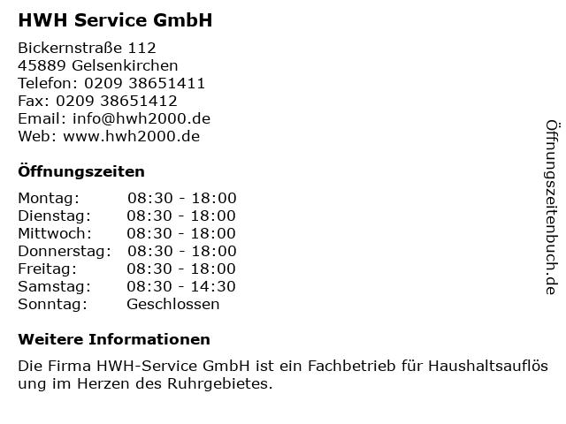 HWH Service GmbH in Gelsenkirchen: Adresse und Öffnungszeiten