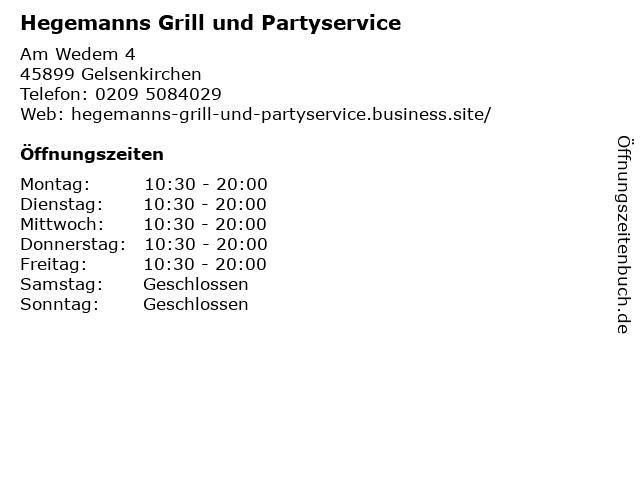 Hegemanns Grill und Partyservice in Gelsenkirchen: Adresse und Öffnungszeiten