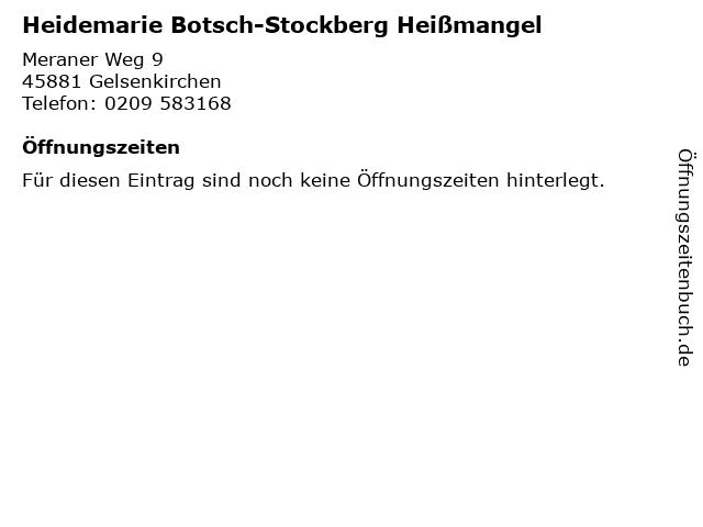 Heidemarie Botsch-Stockberg Heißmangel in Gelsenkirchen: Adresse und Öffnungszeiten