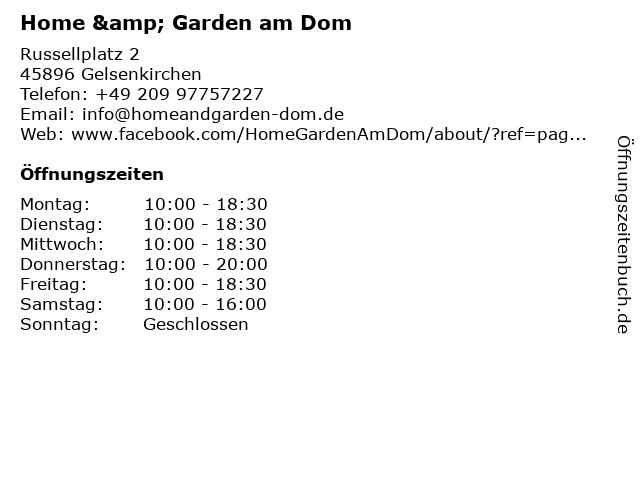 Home & Garden am Dom in Gelsenkirchen: Adresse und Öffnungszeiten