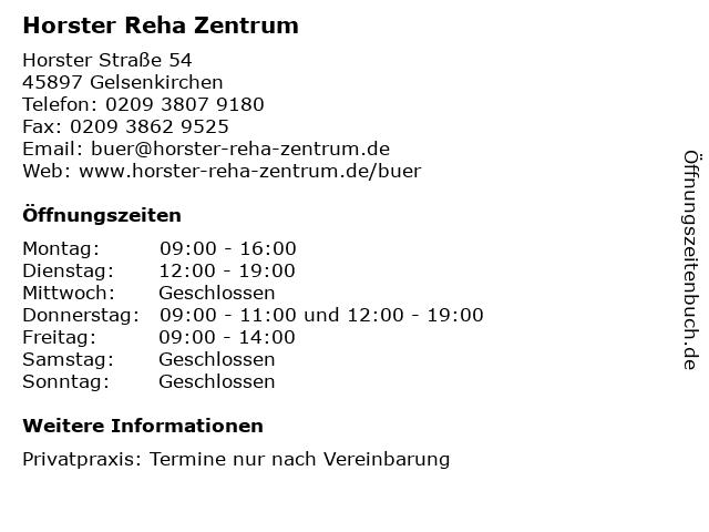Horster Reha Zentrum in Gelsenkirchen: Adresse und Öffnungszeiten