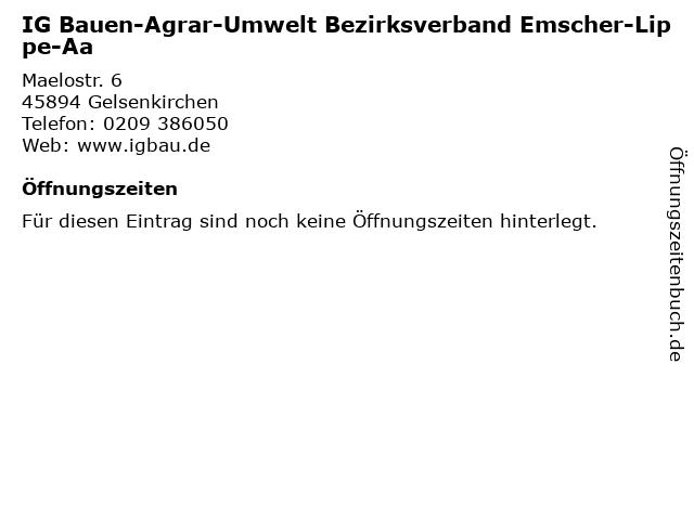 IG Bauen-Agrar-Umwelt Bezirksverband Emscher-Lippe-Aa in Gelsenkirchen: Adresse und Öffnungszeiten