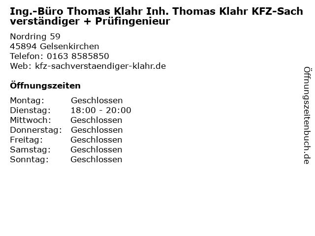Ing.-Büro Thomas Klahr Inh. Thomas Klahr KFZ-Sachverständiger + Prüfingenieur in Gelsenkirchen: Adresse und Öffnungszeiten