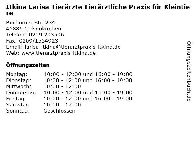 Itkina Larisa Tierärzte Tierärztliche Praxis für Kleintiere in Gelsenkirchen: Adresse und Öffnungszeiten