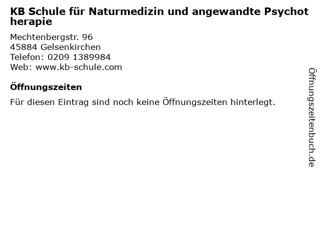 KB Schule für Naturmedizin und angewandte Psychotherapie in Gelsenkirchen: Adresse und Öffnungszeiten