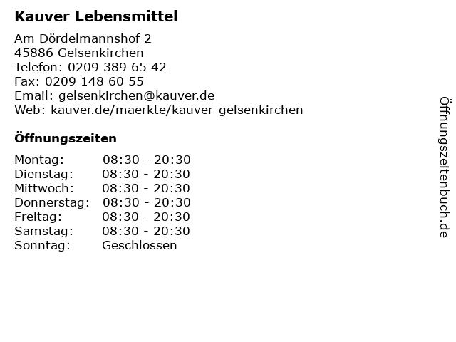 Kauver Lebensmittel in Gelsenkirchen: Adresse und Öffnungszeiten