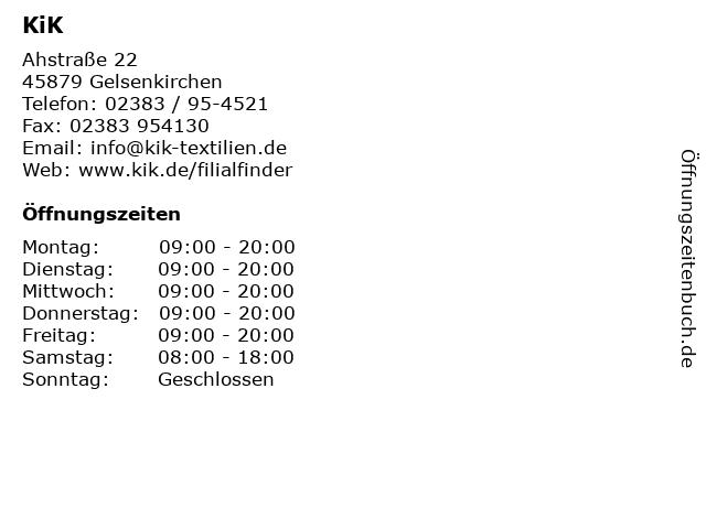 KiK in Gelsenkirchen: Adresse und Öffnungszeiten