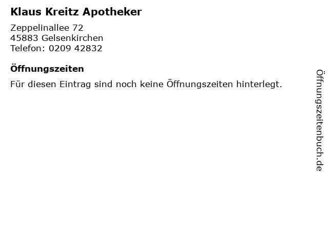 Klaus Kreitz Apotheker in Gelsenkirchen: Adresse und Öffnungszeiten