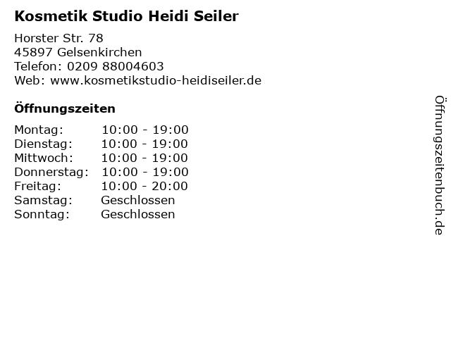 "Kosmetik Gelsenkirchen ᐅ Öffnungszeiten ""kosmetik studio heidi seiler""   horster str. 78"