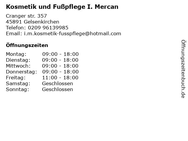 Kosmetik und Fußpflege I. Mercan in Gelsenkirchen: Adresse und Öffnungszeiten