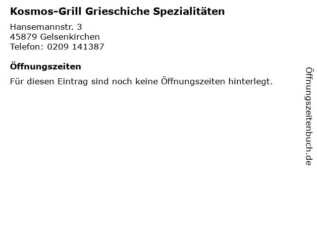 Kosmos-Grill Grieschiche Spezialitäten in Gelsenkirchen: Adresse und Öffnungszeiten