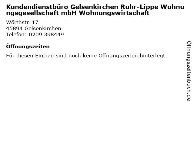 Kundendienstbüro Gelsenkirchen Ruhr-Lippe Wohnungsgesellschaft mbH Wohnungswirtschaft in Gelsenkirchen: Adresse und Öffnungszeiten