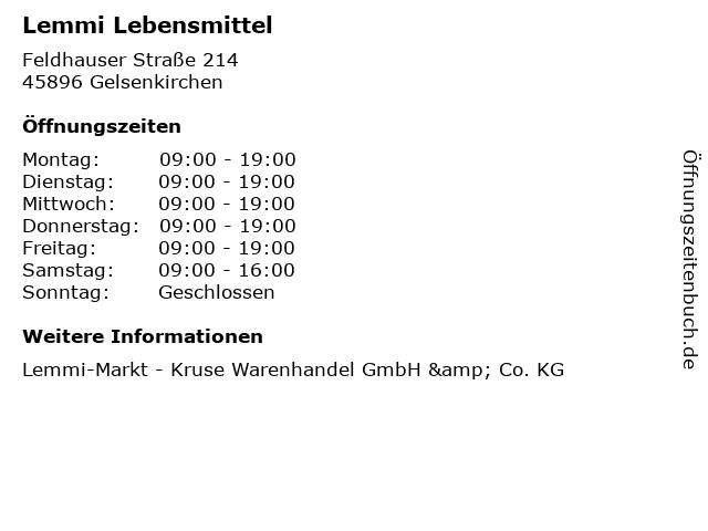 Lemmi Lebensmittel in Gelsenkirchen: Adresse und Öffnungszeiten