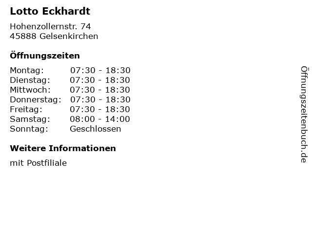 Lotto Eckhardt in Gelsenkirchen: Adresse und Öffnungszeiten