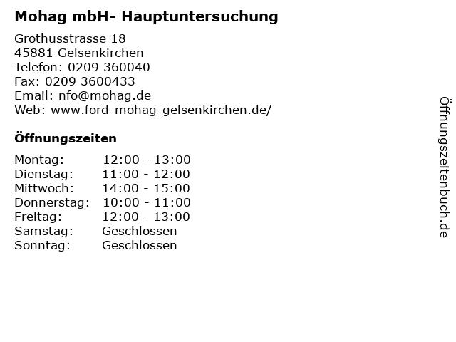 Mohag mbH- Hauptuntersuchung in Gelsenkirchen: Adresse und Öffnungszeiten