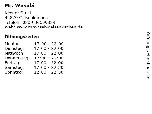 Mr. Wasabi in Gelsenkirchen: Adresse und Öffnungszeiten
