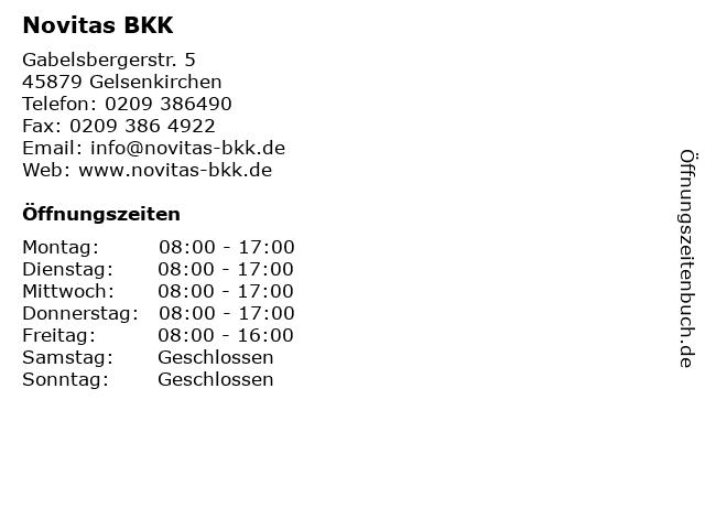 Novitas BKK in Gelsenkirchen: Adresse und Öffnungszeiten