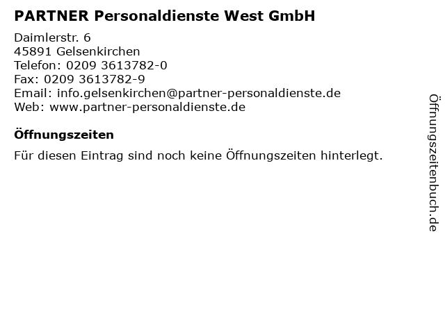 PARTNER Personaldienste West GmbH in Gelsenkirchen: Adresse und Öffnungszeiten
