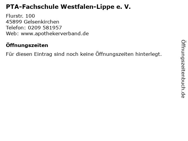 PTA-Fachschule Westfalen-Lippe e. V. in Gelsenkirchen: Adresse und Öffnungszeiten