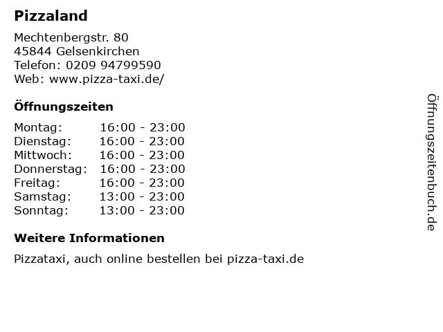 Pizzaland in Gelsenkirchen: Adresse und Öffnungszeiten
