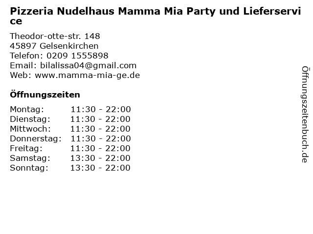 Pizzeria Nudelhaus Mamma Mia Party und Lieferservice in Gelsenkirchen: Adresse und Öffnungszeiten