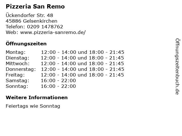 Pizzeria San Remo in Gelsenkirchen: Adresse und Öffnungszeiten