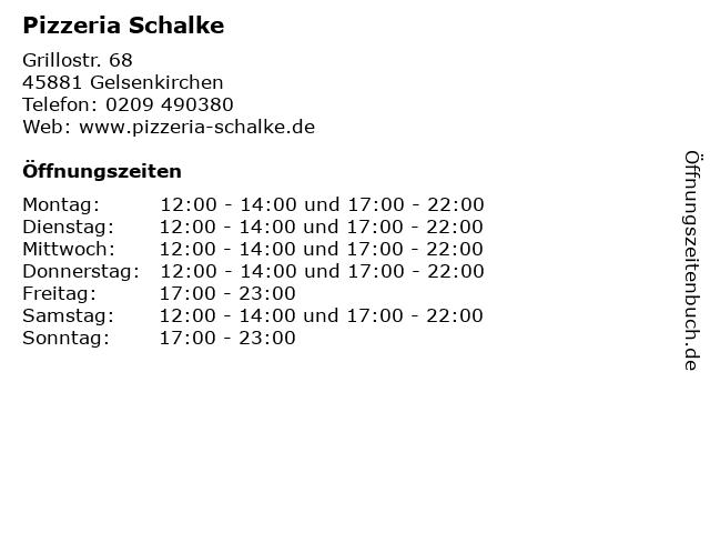 Pizzeria Schalke in Gelsenkirchen: Adresse und Öffnungszeiten