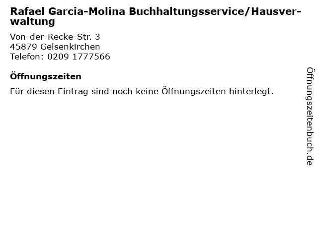 Rafael Garcia-Molina Buchhaltungsservice/Hausver- waltung in Gelsenkirchen: Adresse und Öffnungszeiten