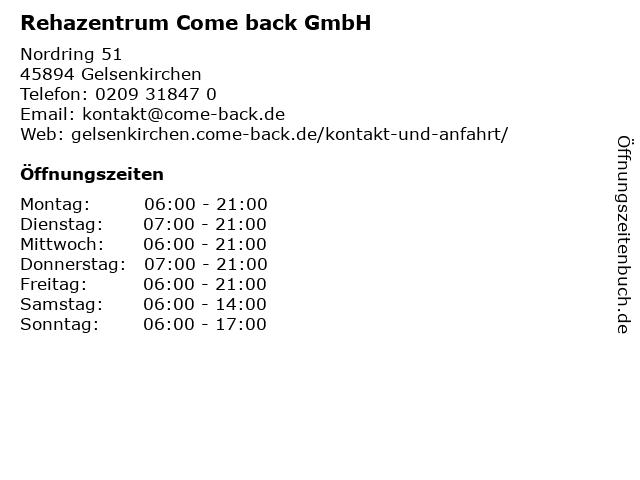 Rehazentrum Come back GmbH in Gelsenkirchen: Adresse und Öffnungszeiten