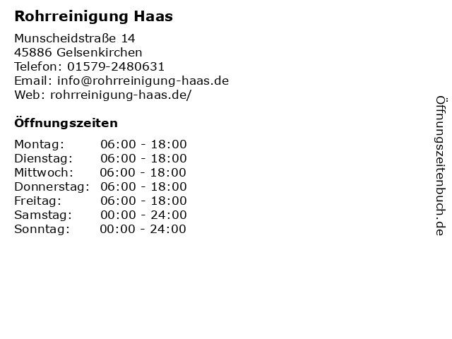 Rohrreinigung Haas in Gelsenkirchen: Adresse und Öffnungszeiten