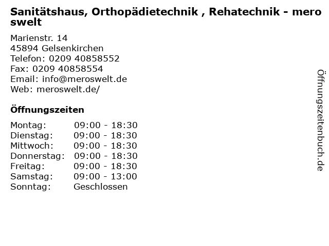 Sanitätshaus, Orthopädietechnik , Rehatechnik - meroswelt in Gelsenkirchen: Adresse und Öffnungszeiten
