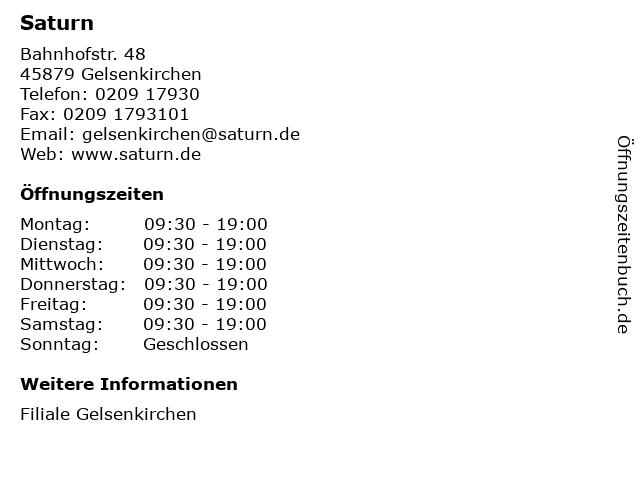 Saturn in Gelsenkirchen: Adresse und Öffnungszeiten