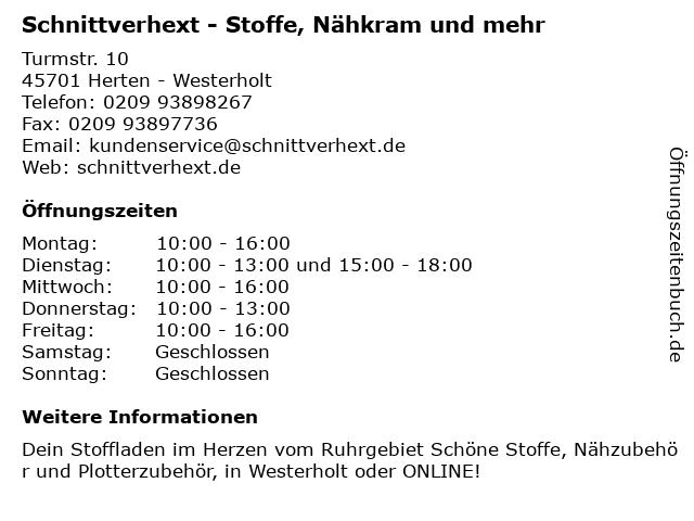 Schnittverhext - Stoffe, Nähkram und mehr in Gelsenkirchen: Adresse und Öffnungszeiten