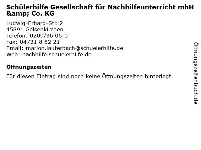 Schülerhilfe Gesellschaft für Nachhilfeunterricht mbH & Co. KG in Gelsenkirchen: Adresse und Öffnungszeiten