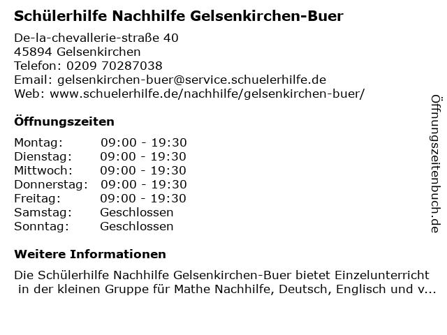 Schülerhilfe Nachhilfe Gelsenkirchen-Buer in Gelsenkirchen: Adresse und Öffnungszeiten