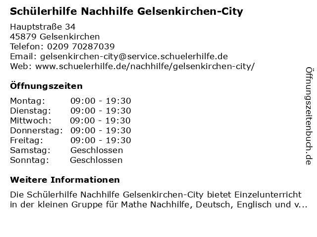 Schülerhilfe Nachhilfe Gelsenkirchen-City in Gelsenkirchen: Adresse und Öffnungszeiten