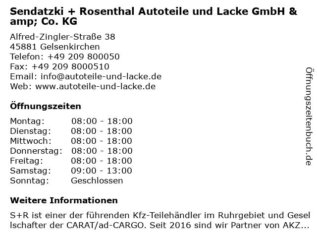 Sendatzki + Rosenthal Autoteile und Lacke GmbH & Co. KG in Gelsenkirchen: Adresse und Öffnungszeiten