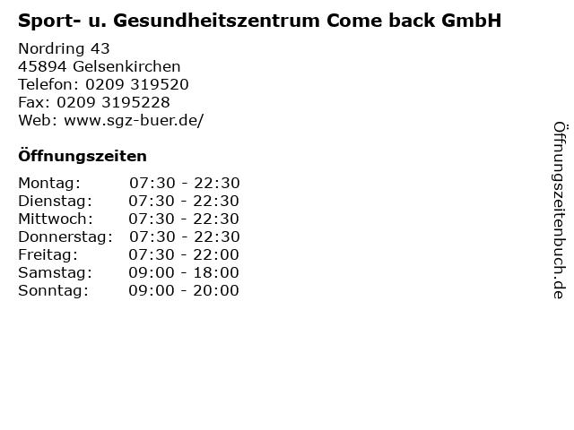 Sport- u. Gesundheitszentrum Come back GmbH in Gelsenkirchen: Adresse und Öffnungszeiten