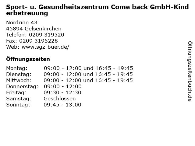 Sport- u. Gesundheitszentrum Come back GmbH-Kinderbetreuung in Gelsenkirchen: Adresse und Öffnungszeiten