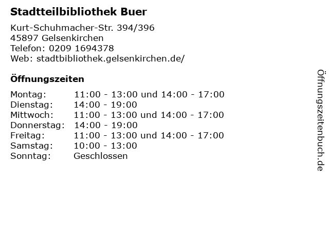 Stadtteilbibliothek Buer in Gelsenkirchen: Adresse und Öffnungszeiten