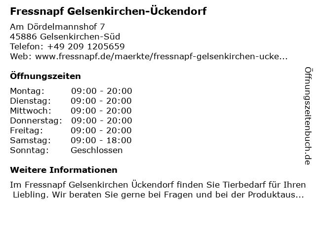 Fressnapf Gelsenkirchen-Ückendorf in Gelsenkirchen-Süd: Adresse und Öffnungszeiten